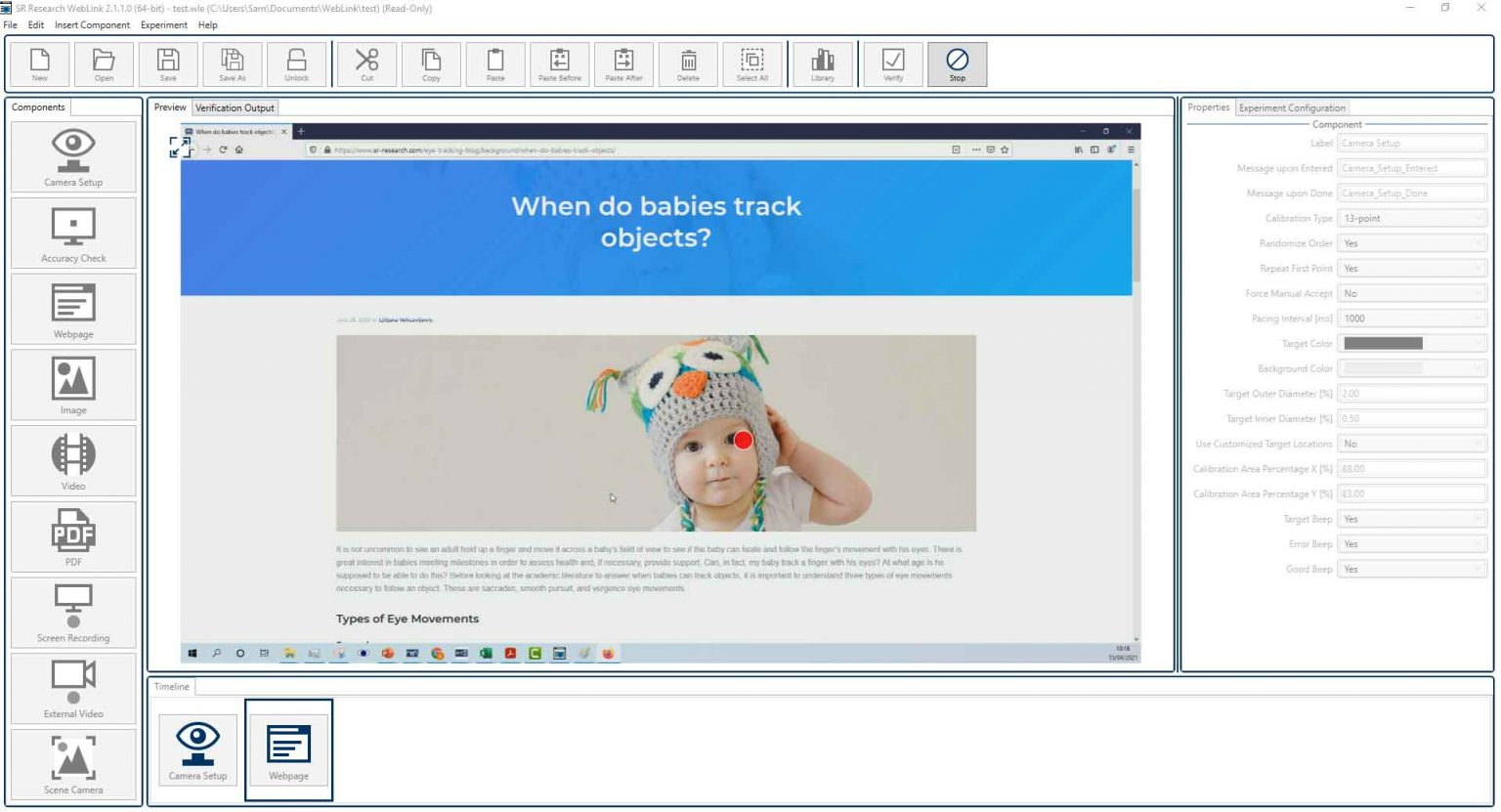 WebLink Eye Tracking Software
